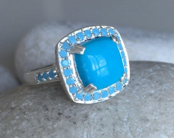 Blue Turquoise Engagement Ring- Unique Gemstone Statement Ring- Halo December Birthstone Ring- Cushion Cut Sterling Silver Ring