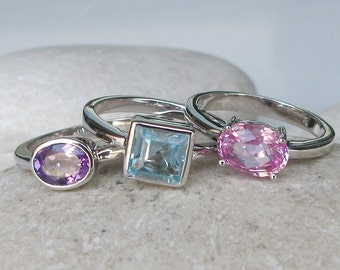 October, February and December Birthstone Ring- Stack Ring- Pink Topaz Ring- Blue Topaz Ring- Amethyst Ring- Mothers Ring- Statement Ring
