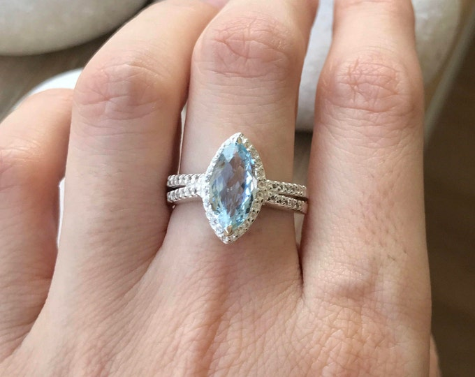 Natural Aquamarine Halo Engagement Marquise Silver Ring- Aquamarine Navette Double Band Promise Ring-Genuine Aquamarine Anniversary Ring