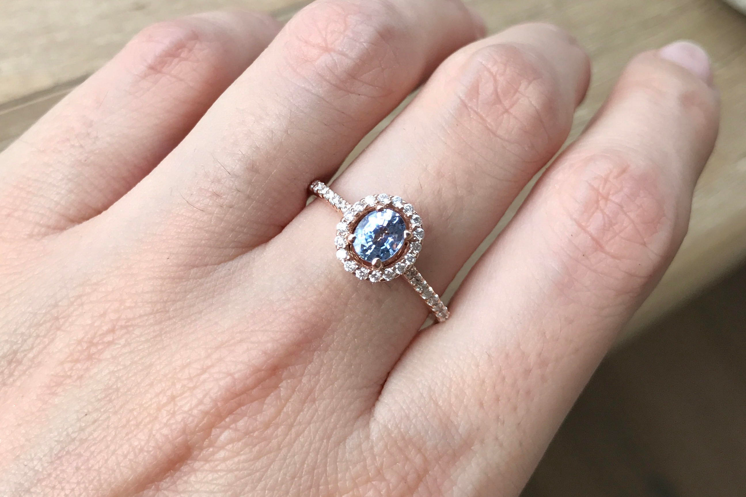 Oval Blue Sapphire Rose Gold Ring- Sapphire Halo Engagement Ring ...