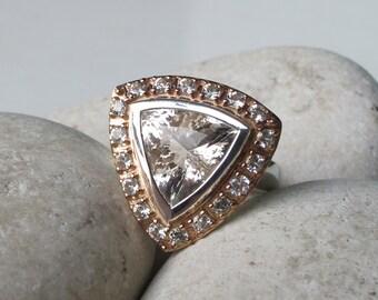 Rose Gold Engagement Ring- Trillion Shape Engagement Ring- Halo Promise Ring- Triangle Statement Ring- Alternative Engagement Ring