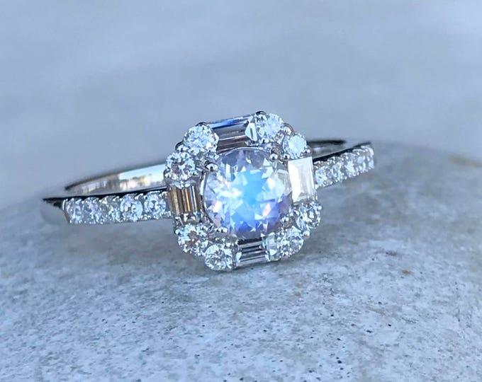 Vintage Moonstone Halo Baguette Diamond Engagement 14k 18k Ring-Moonstone Deco Promise Ring for Her-Genuine Moonstone Diamond Solitaire Ring