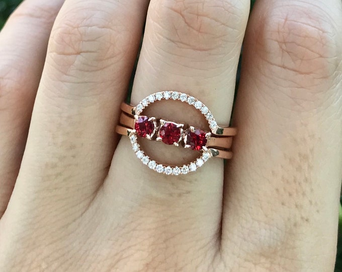 Genuine Ruby Bridal Ring Set- Rose Gold Ruby Engagement Ring Set- Three Stone Ruby with Diamond Promise Ring- Round Ruby Anniversary Ring