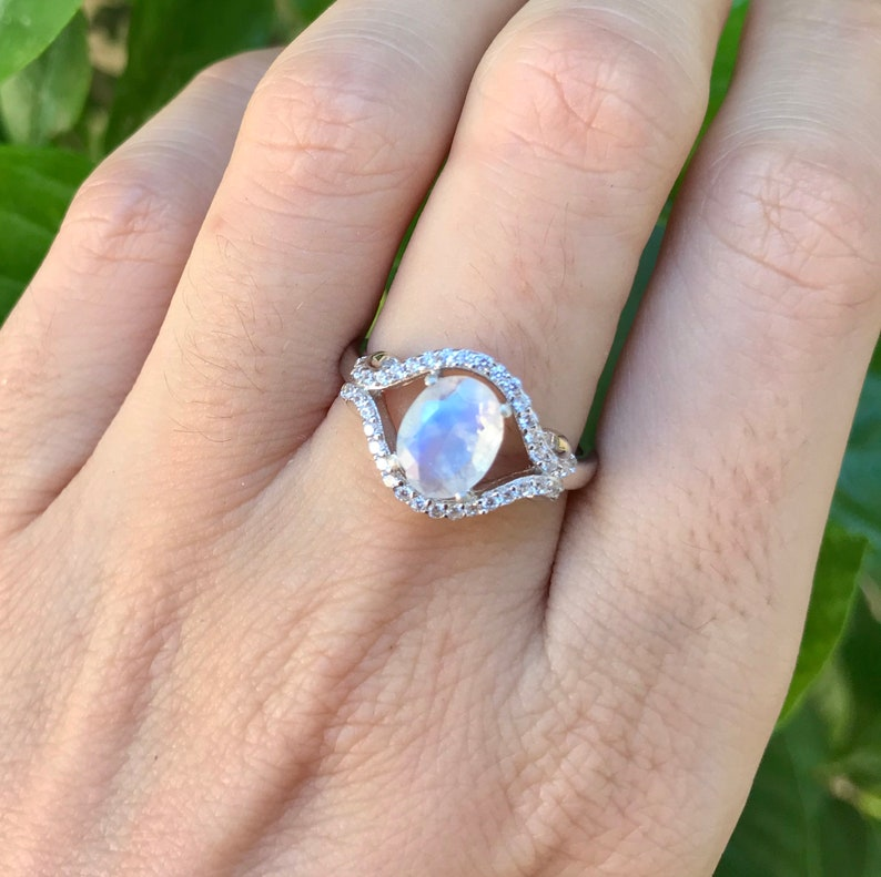 51a9551e5bf3 2ct Moonstone Oval Engagement Ring Rainbow Moonstone Halo