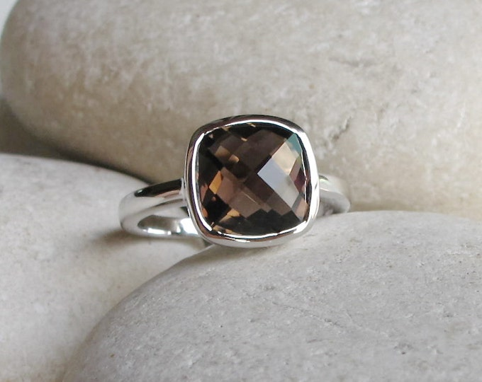 Square Smoky Quartz Stackable Ring- Smoky Topaz Gemstone Ring- Brown Stone Facet Ring- Sterling Silver Brown Ring