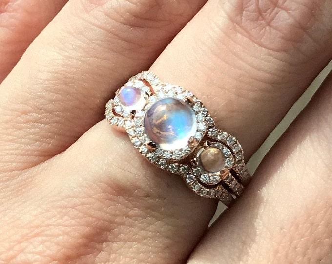 Vintage Moonstone Engagement Ring Set- Three Stone Rainbow Moonstone Bridal Ring Set- Halo Moonstone Diamond Ring in Rose White Yellow Gold