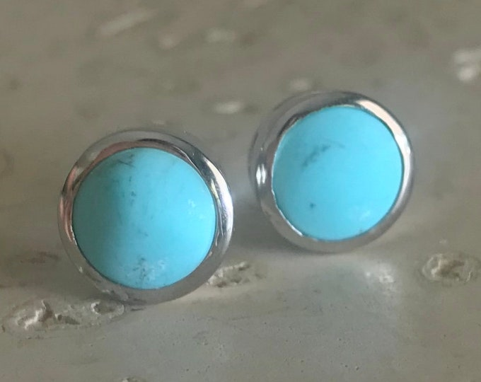Boho Turquoise Stud Earring- Simple Round Turquoise Earring- Genuine Natural Turquoise Stud Earring- December Birthstone Earring