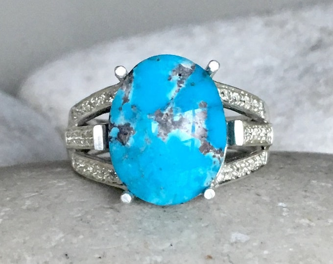 Genuine Turquoise Engagement Ring- Oval Turquoise Statement Ring- Spilt Band Promise Ring- December Birthstone Ring- Blue Anniversary Ring