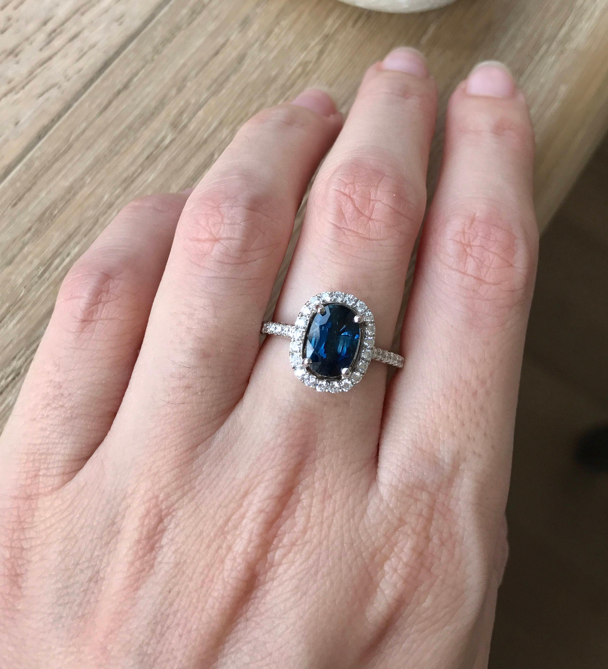 Blue Sapphire Engagement Ring- Genuine Oval Blue Sapphire Ring ...