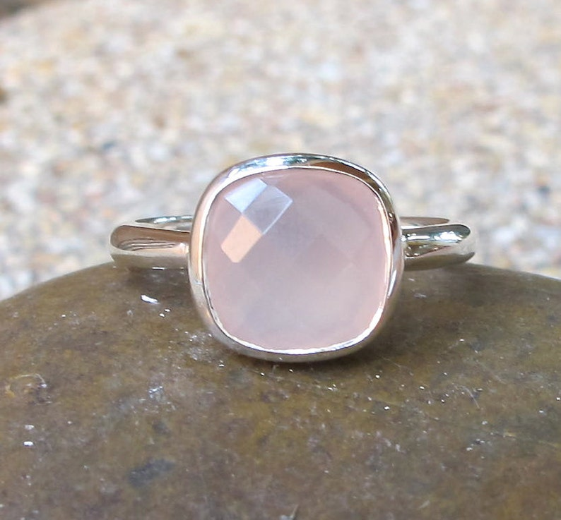 Pink Chalcedony Simple Ring Rose Quartz Stack Square Silver Ring October Birthstone Ring- Pink Onyx Gemstone Ring Milky Pastel Pink Ring