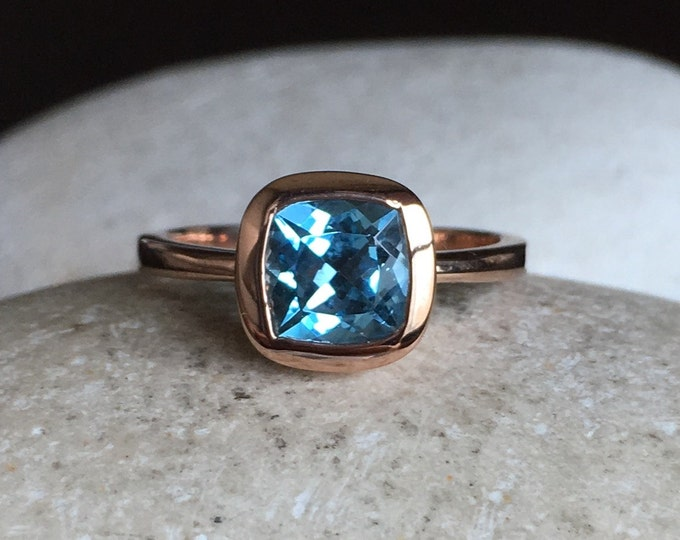 Swiss Blue Topaz Anniversary Ring- Rose Gold Promise Ring for Her- Simple Square Blue Topaz Ring-  Something Blue December Birthstone Ring