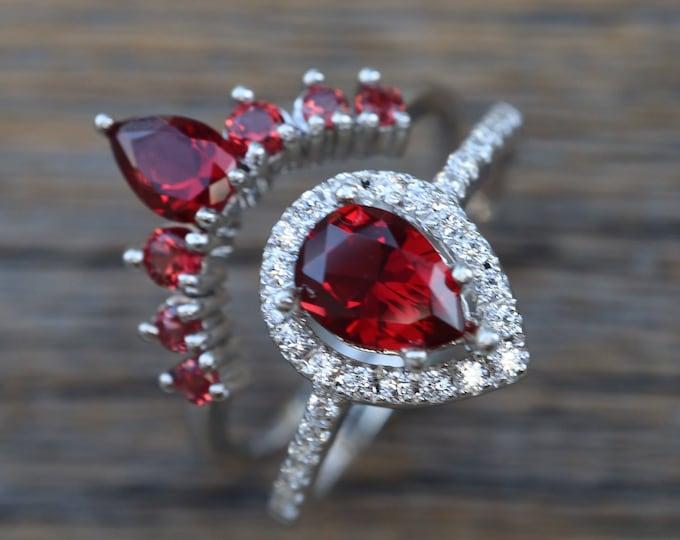 Teardrop Garnet Bridal Ring Set- Pear Garnet Wedding 2 Ring Set- Red Stone Halo Bridal Ring with Curved Wedding Band