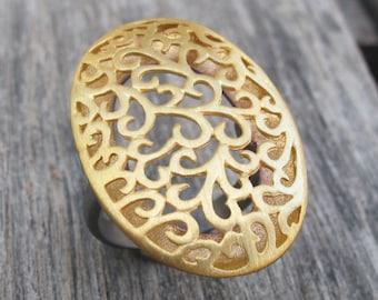 Large Statement Filigree Ring- Statement Ring- Boho Ring- Cut Out Motif Ring- Floral Ring  Woman Statement Ring Gold Ring