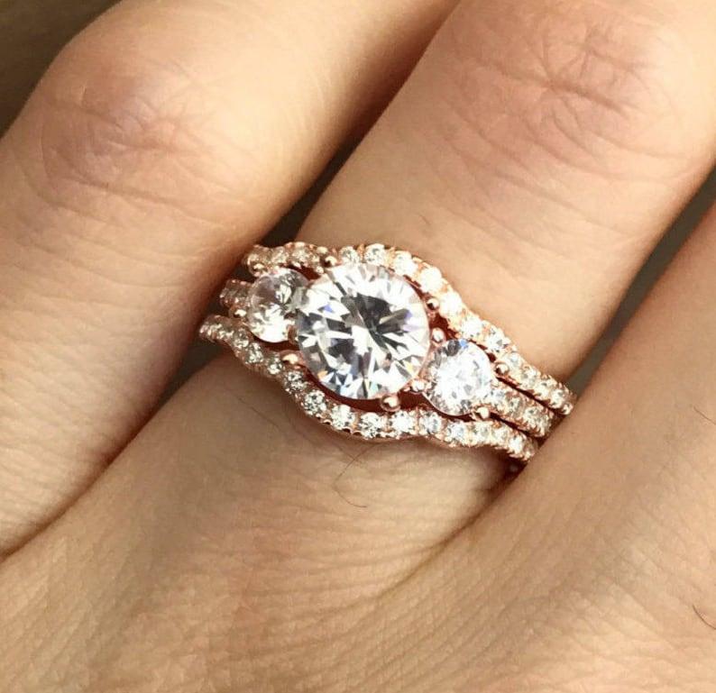 Rose Gold Bridal Set Ring Three Stone Engagement Ring Set image 0