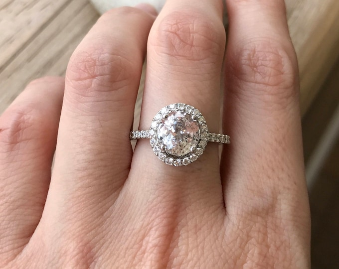 Certified 2.28ct Oval Genuine White Sapphire Engagement White Gold Ring- Natural Colorless Sapphire Halo Diamond Ring- Alternative Diamond