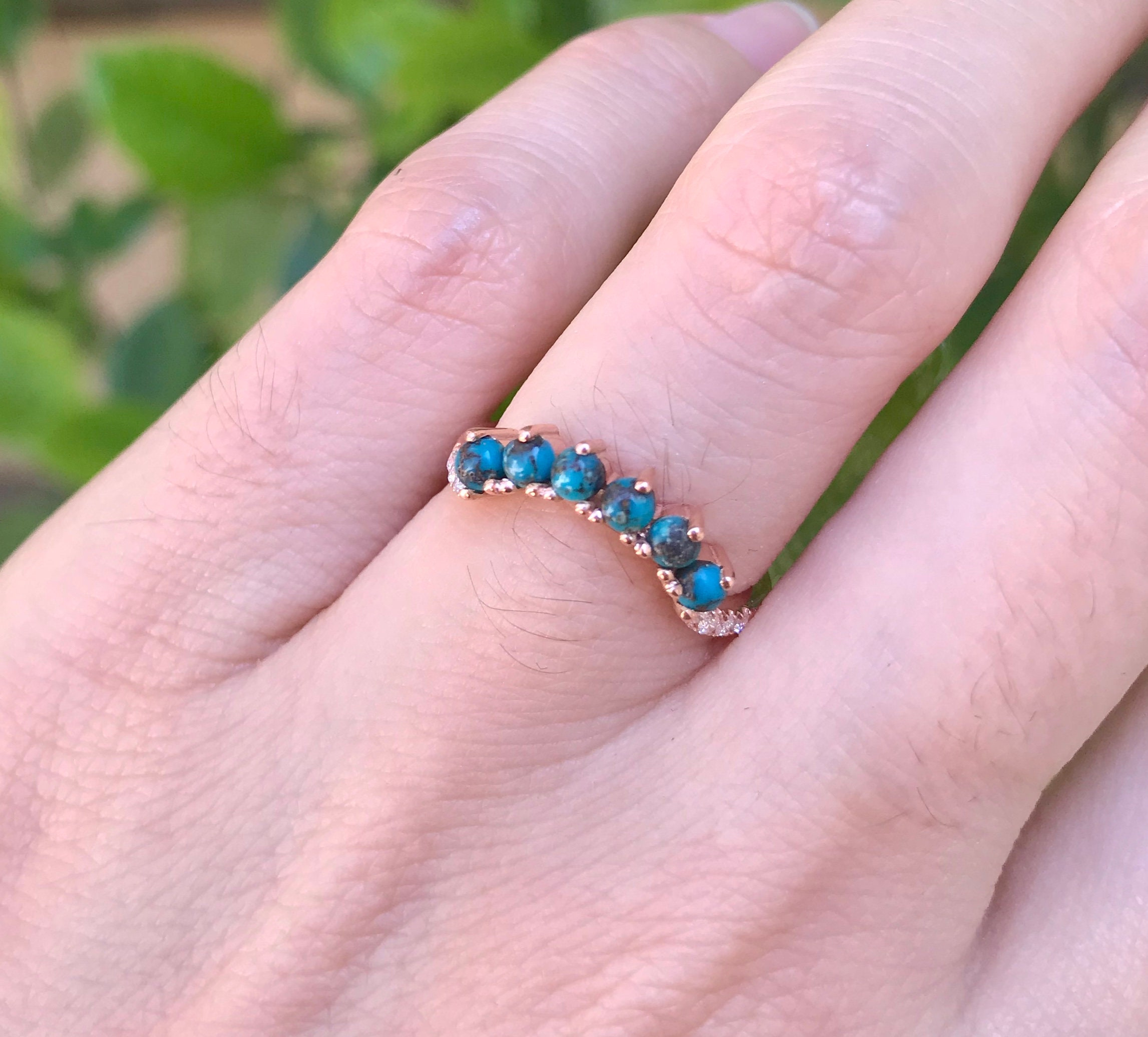 Turquoise Wedding Band Woman- Wedding Band Genuine Turquoise Contour ...