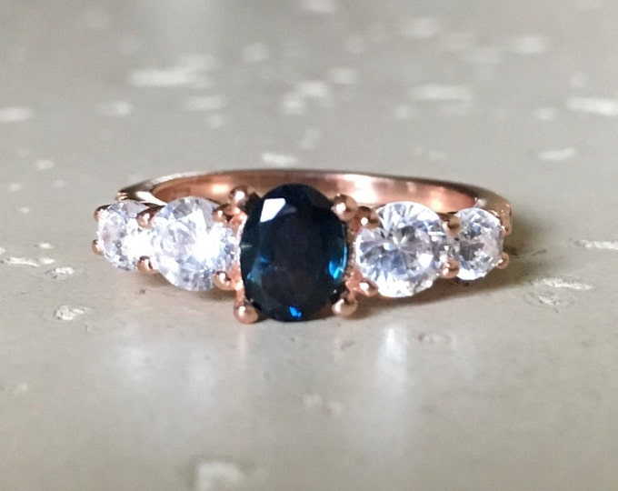 Rose Gold Sapphire Ring- Genuine Blue Sapphire Engagement Ring- Promise Ring for Her- September Birthstone Ring- Five Stone Rose Gold Ring