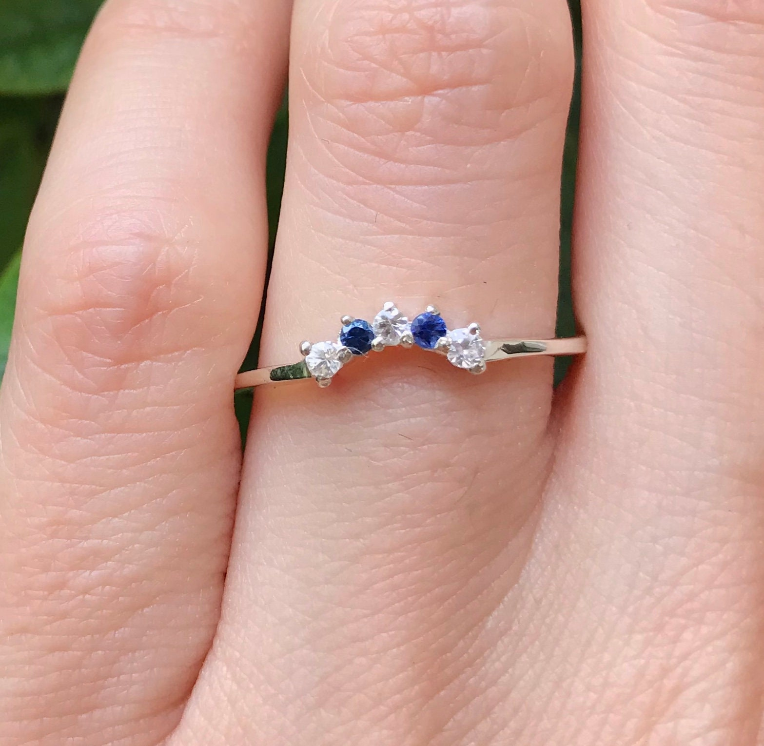 Sapphire Curve Wedding Band- Blue and White Sapphire Woman V Wedding ...