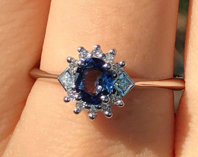 0.50ct Genuine Dark Blue Sapphire White Gold Deco Dainty Ring- Natural Oval Blue Sapphire Engagement Deco Ring- Sapphire Diamond Ring