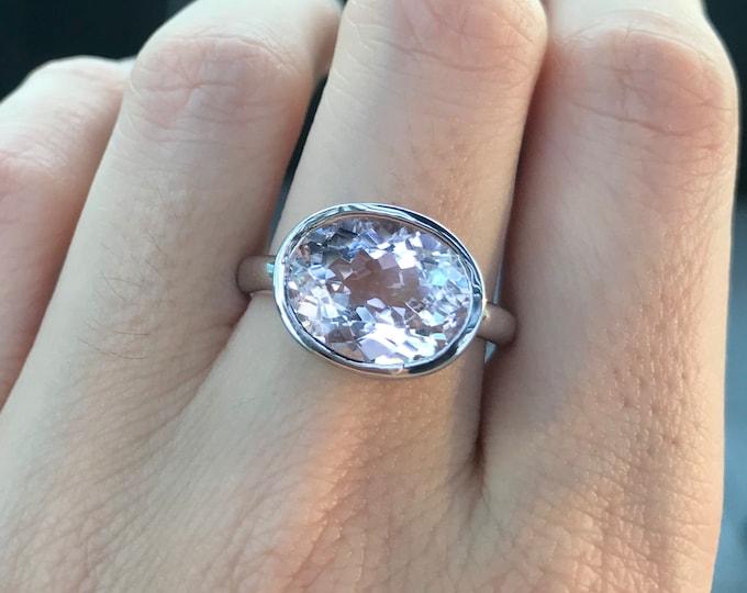 Morganite Pink Purplish Oval Ring- Large Morganite Solitaire Ring- Simple Morganite Engagement Ring- Silver Morganite 12mm x 10mm Bezel Ring