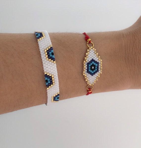 Miyuki Evil eye bracelet evil eye bead bracelet Stack trendy evil eye bracelet