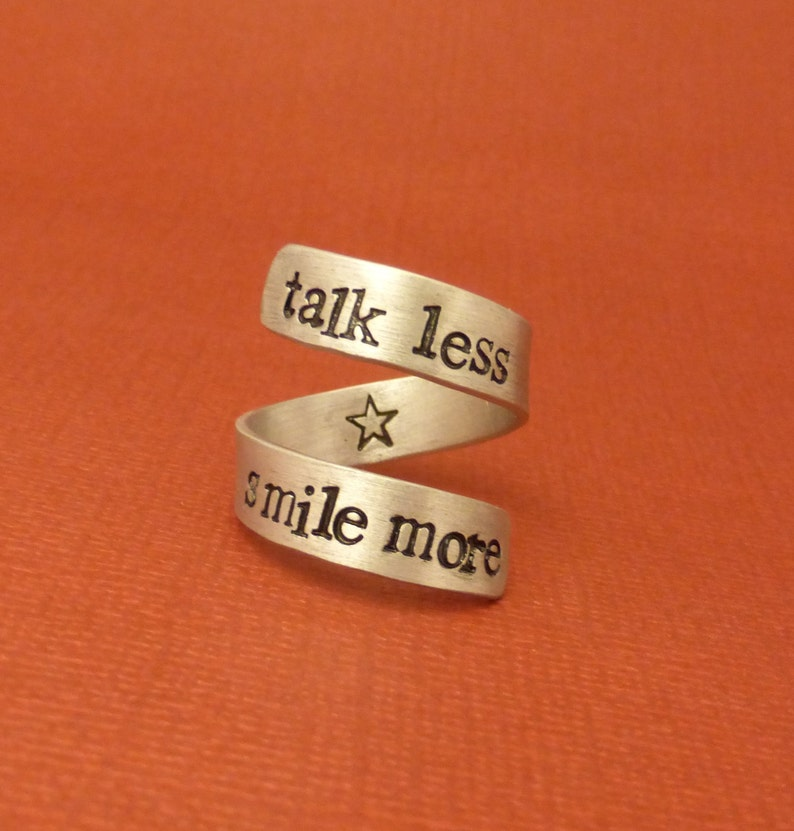 5fa2351d36b65 Hamilton Inspired - Talk Less. Smile More - A Hand Stamped Wrap Ring