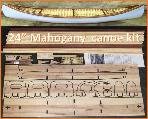 Modellboot Kanu mit Rudern aus Holz Modellschiff Schiffsmodell Deko Dekoration
