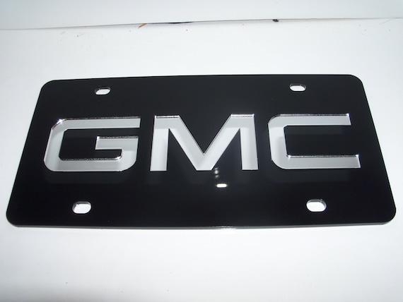 GMC Logo Black Laser Cut License Plate