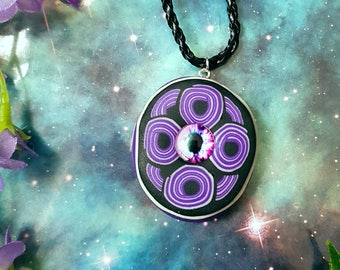 UV glow tribal psychedelic necklace