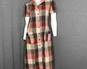 PIERRE CARDIN Vintage Plaid Dress Size: 8