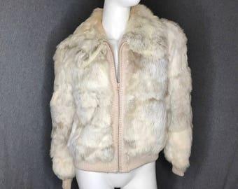 Rabbit Fur Zip Up Coat Size:8