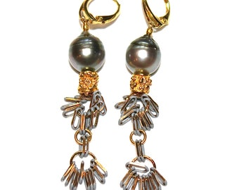 93bef3f26 Tahitian Pearl Tassel Earrings Pearl Earrings Tassel Jewelry Boho Earrings  Grey Earrings Bohemian Earring Long Earring Boho Gift FizzCandy