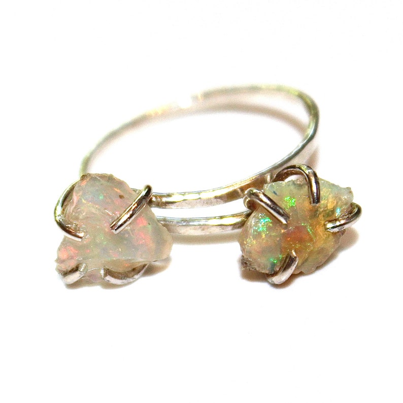 Double Raw Opal Ring Raw Stone Ring Ethiopian Opal Jewelry Raw image 0