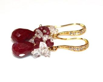 Ruby Earrings Herkimer Diamond Earrings Ruby Jewelry Herkimer Earrings Diamond Earrings Dressy Earrings Quartz Earrings Elegant Earrings