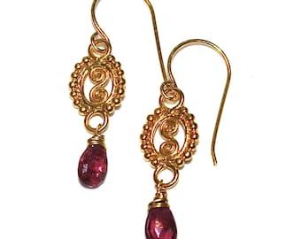 Pink Tourmaline Earrings Gold Vermeil Scroll Earrings Pink Earrings Gift For Women Simple Earrings Delicate Jewelry Gemstone Jewelry