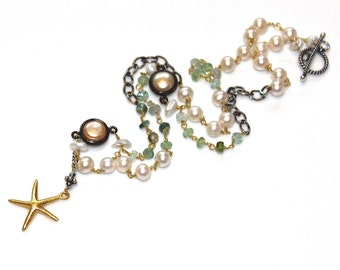Starfish Necklace Mixed Metal Necklace Boho Necklace Tourmaline Necklace Beach Jewelry Beach Necklace Starfish Jewelry Spring Jewelry Pearls