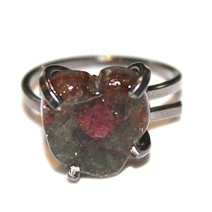 Dark Striped Tourmaline Ring Black Gold Ring Adjustable Ring Watermelon Tourmaline Slice Tourmaline Jewelry Delicate Ring