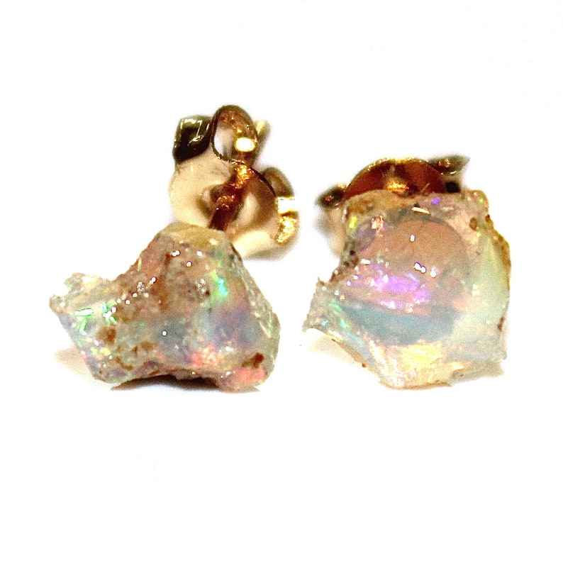 Small Raw Opal Stud Earrings Gifts for Her Gifts for Wife image 0