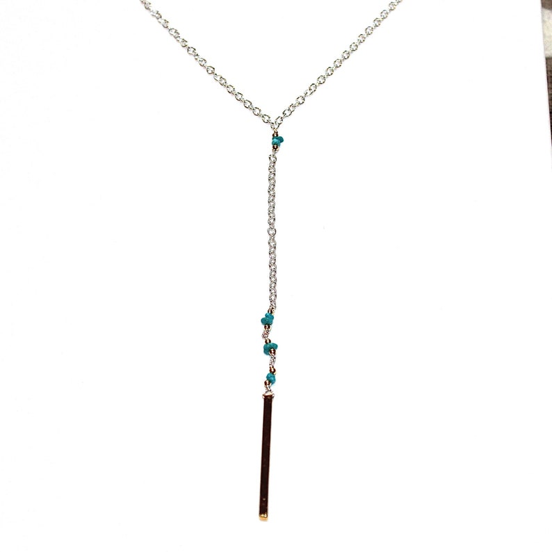 As Seen On Fuller House Turquoise Necklace Mixed Metal Necklace Turquoise Jewelry Y Necklace Delicate Necklace As Seen On TV Candace Bure