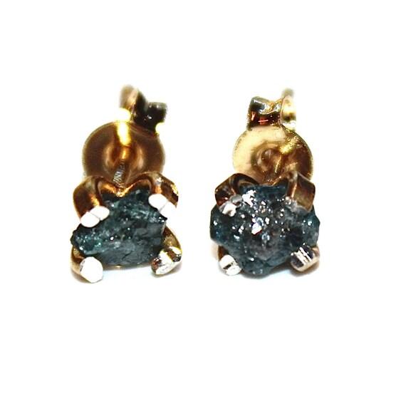 Raw Diamond Earrings Blue Diamonds Rough Diamond Studs Real Etsy