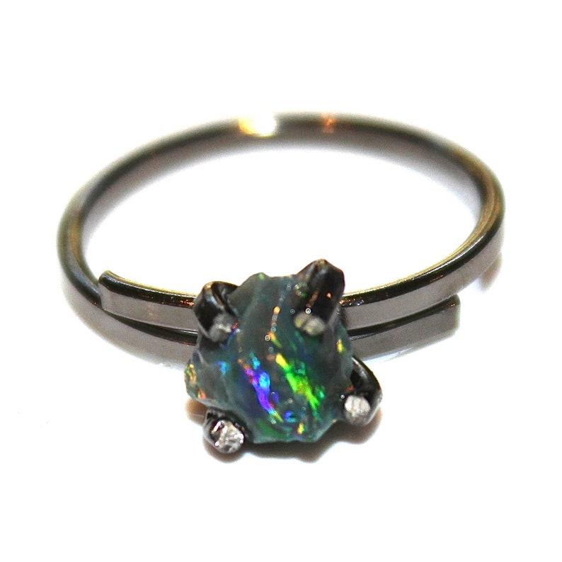Small Opal Ring Raw Opal Ring Raw Stone Ring Black Opal Jewelry Prong Set Opal Ring Dark Opal Free Form Ring Black Gold Ring Raw Stone Ring