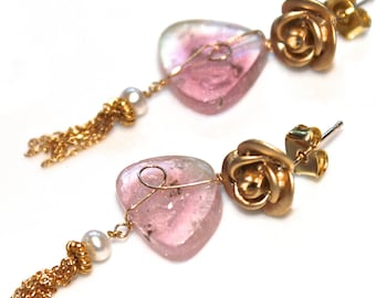 Watermelon Tourmaline Slice Earring Pink Tourmaline Pink Earring Scroll Ear Tassel Earring Tourmaline Jewelry Rose Earring Spring Jewelry