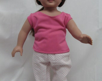 Pink Polka Dot Pajamas and Bunny Slippers  for 18 inch doll like the American Girl.