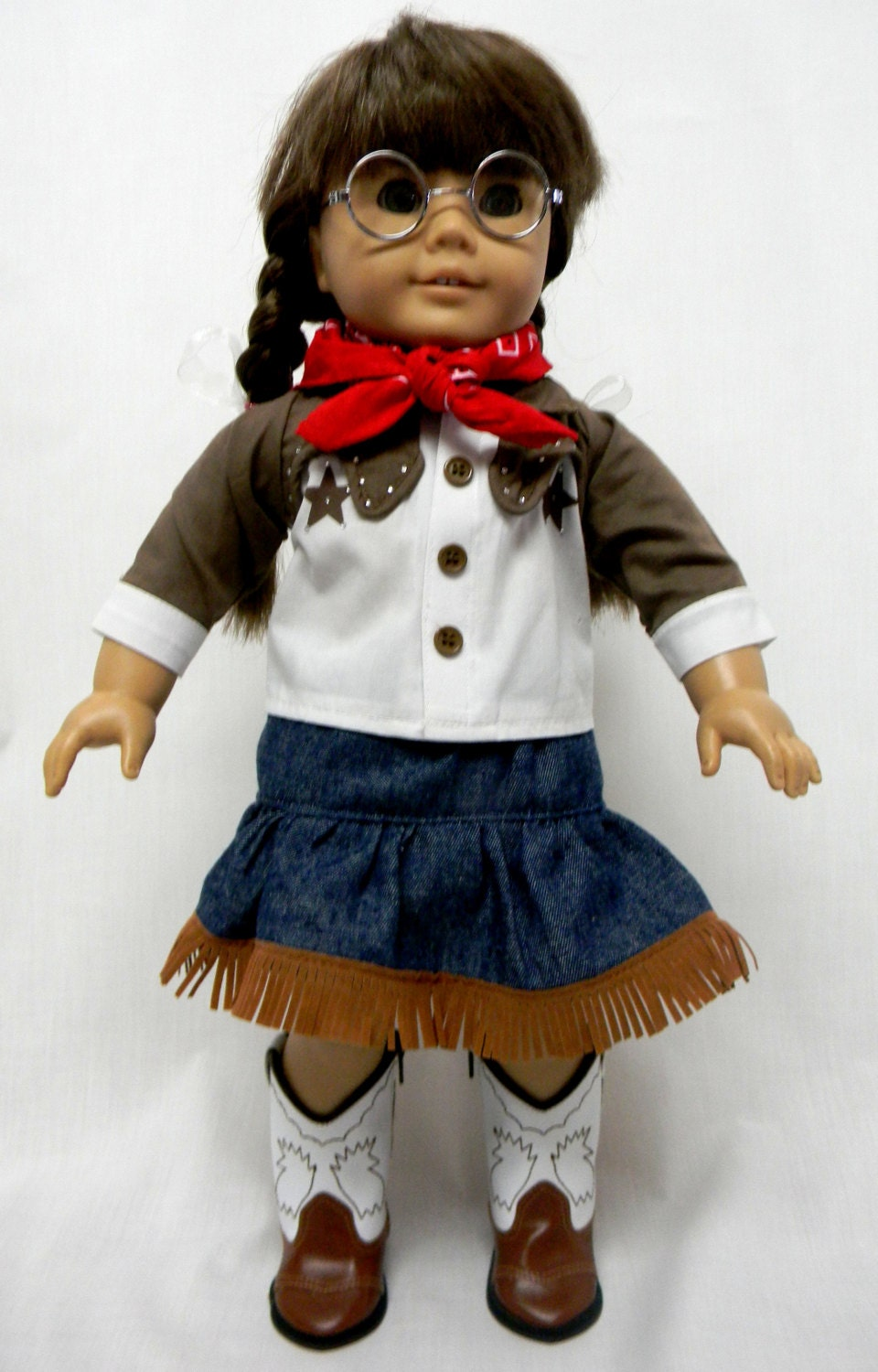 Cowgirl Outfit Has Denim Skirt And A Cowgirl Shirt For 18 -2814