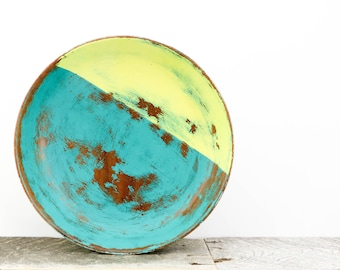 Handpainted Bowl - Rustic Modern Decor - Teal Yellow Grey - Pedestal Bowl