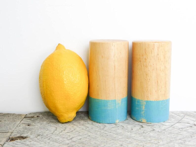 Aqua Salt and Pepper Shakers Modern Bright Kitchen Decor