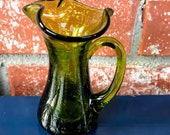 Retro Green Pitcher Vintage Kanawha Crackle Glass Vase Chartreuse Vintage Green Glass Pitcher Pilgrim Crackle Glass Home Decor Vase Bud Vase