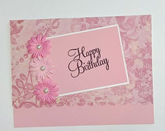 Happy Birthday Wishes Celebrate Pretty Card For Friend Handmade Woman Mother Aunt Feminine Pink A Teenager