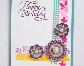 Happy Birthday Wishes Celebrate Pretty Card For Friend Handmade Zen Coloring Woman Mother Aunt Feminine Washi Tape