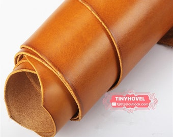 Italy Vegetable Tanned Leather, Mohican Tan of Leather Off Cuts, Italian Genuine Cowhide Leathercraft [Thickness: 1.8 mm] L027